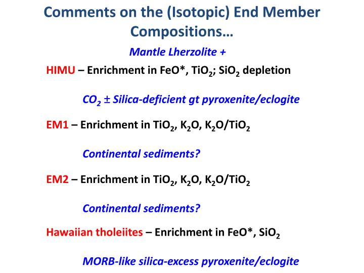 Comments on the (Isotopic) End Member Compositions…