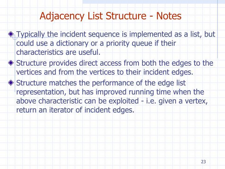 Adjacency List Structure - Notes