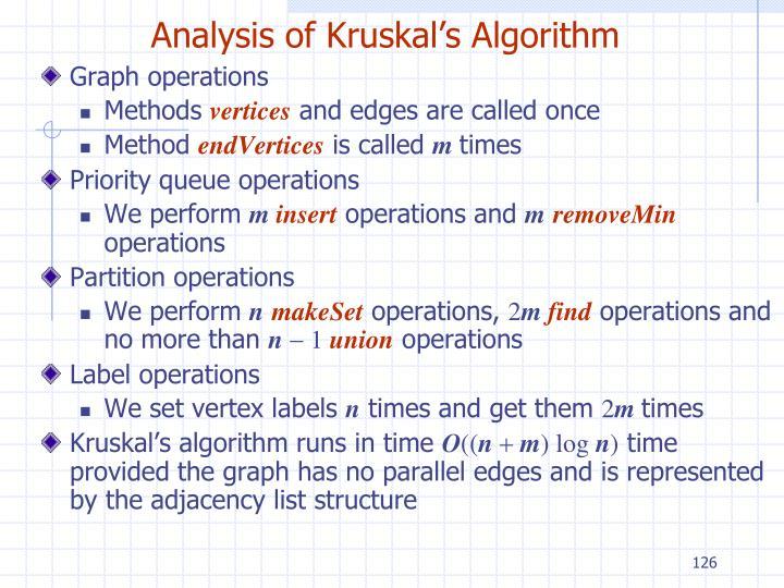 Analysis of Kruskal's Algorithm