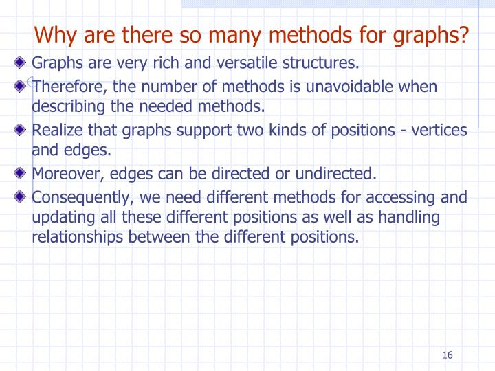 Why are there so many methods for graphs?