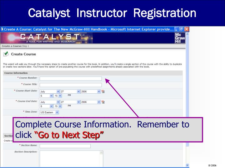 Catalyst  Instructor  Registration