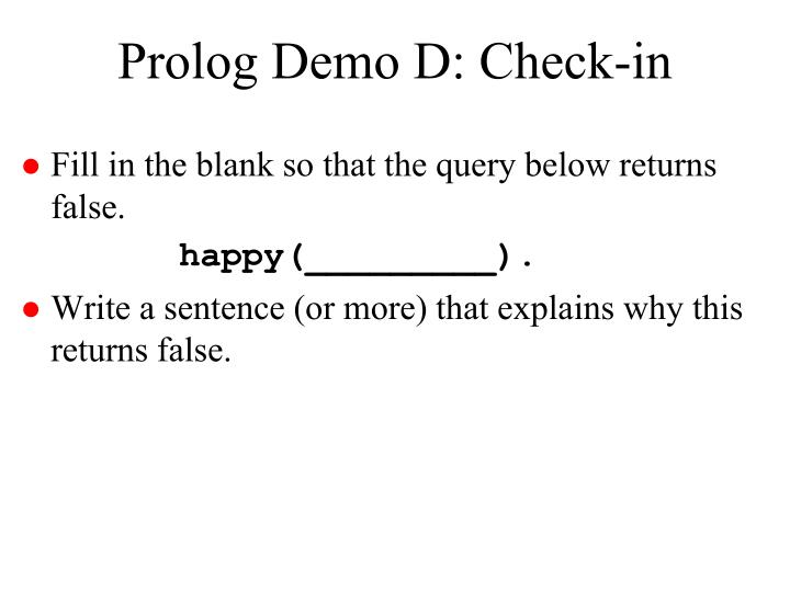 Prolog Demo D: Check-in