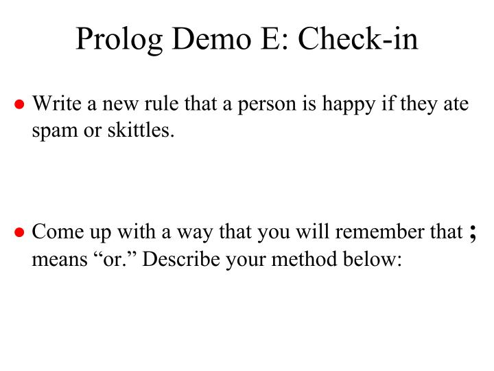 Prolog Demo E: Check-in