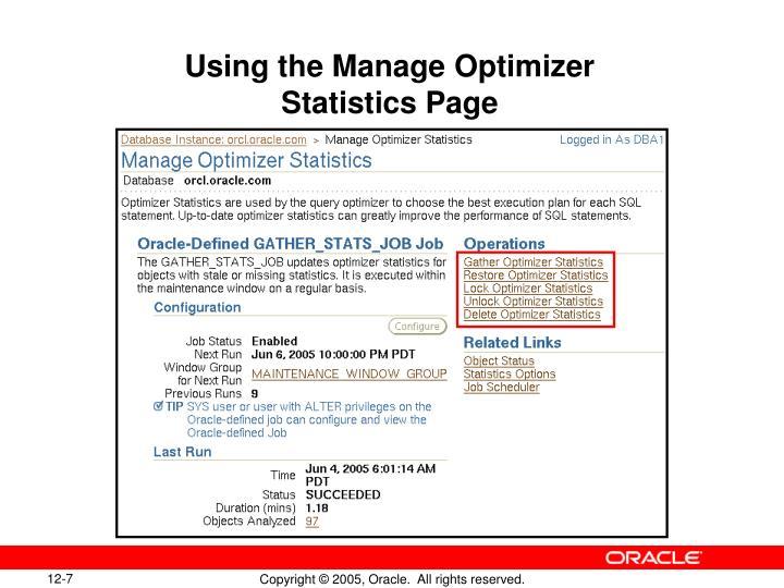 Using the Manage Optimizer