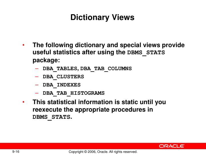 Dictionary Views