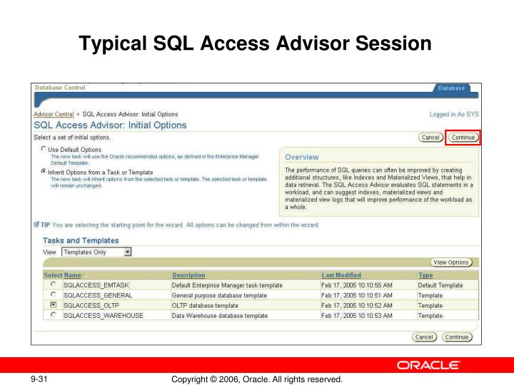 Typical SQL Access Advisor Session