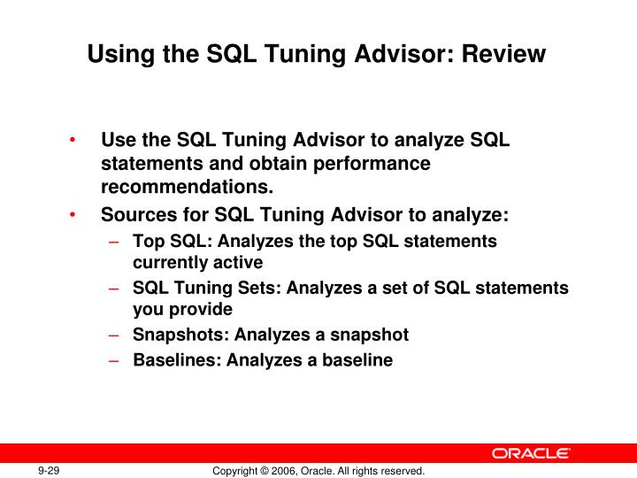 Using the SQL Tuning Advisor: Review