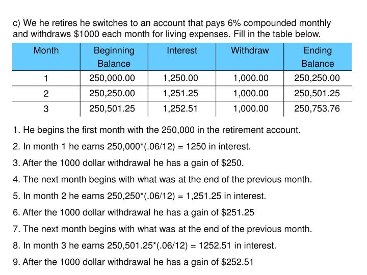 c) We he retires he switches to an account that pays 6% compounded monthly and withdraws $1000 each month for living expenses. Fill in the table below.