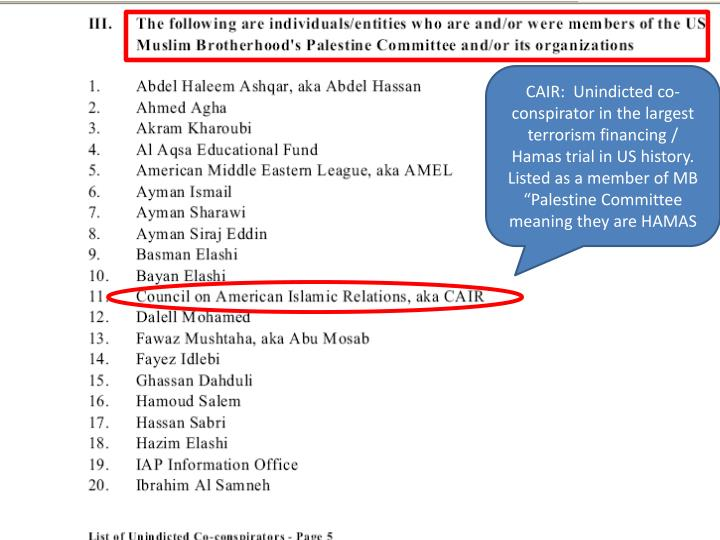 "CAIR:  Unindicted co-conspirator in the largest terrorism financing / Hamas trial in US history. Listed as a member of MB ""Palestine Committee meaning they are HAMAS"