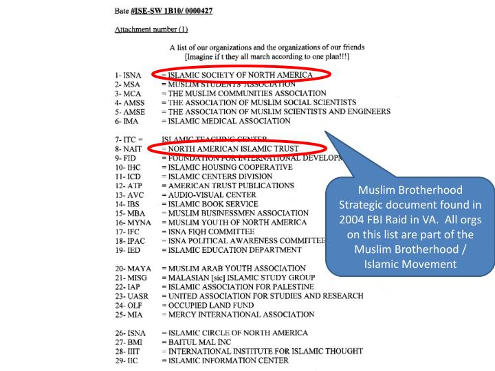 Muslim Brotherhood Strategic document found in 2004 FBI Raid in VA.  All orgs on this list are part of the Muslim Brotherhood /