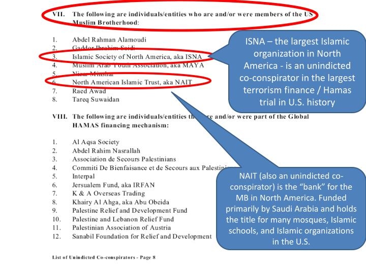 ISNA – the largest Islamic organization in North America - is an unindicted co-conspirator in the largest terrorism finance / Hamas trial in U.S. history