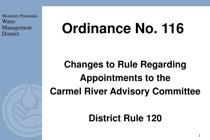 Ordinance No. 116
