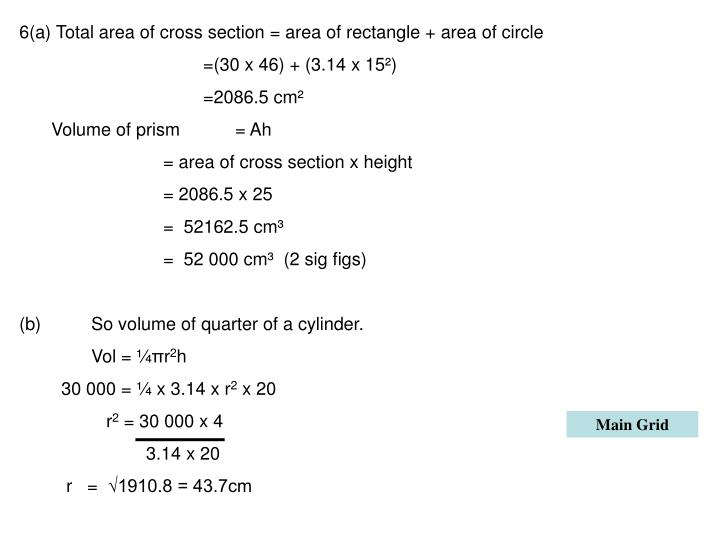 6(a) Total area of cross section = area of rectangle + area of circle