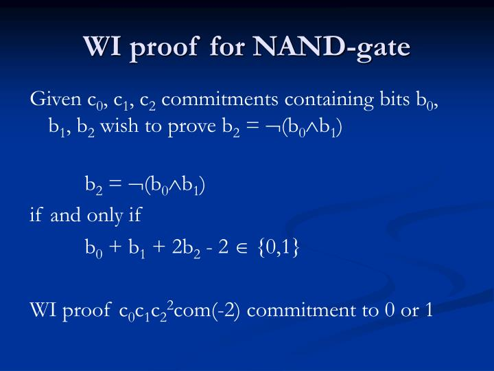 WI proof for NAND-gate
