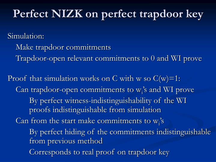 Perfect NIZK on perfect trapdoor key