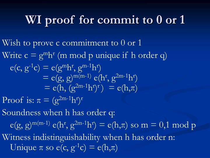 WI proof for commit to 0 or 1
