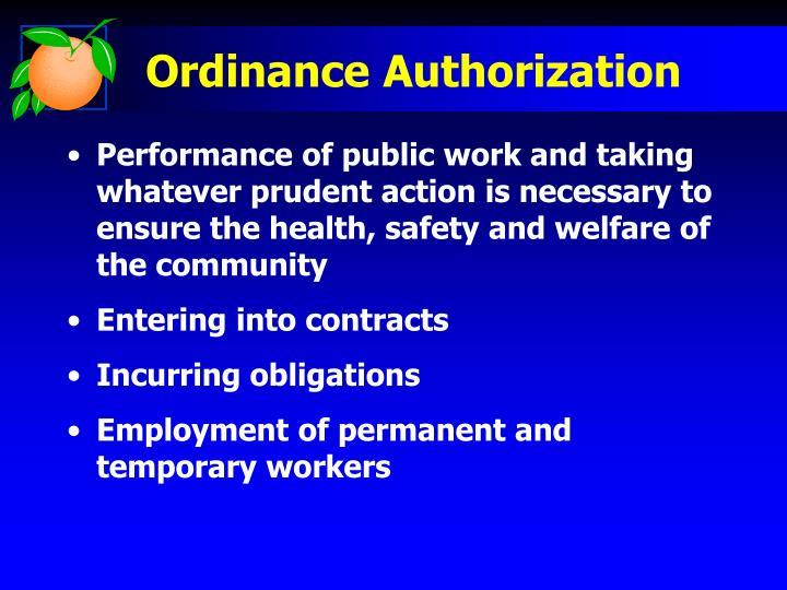 Ordinance Authorization