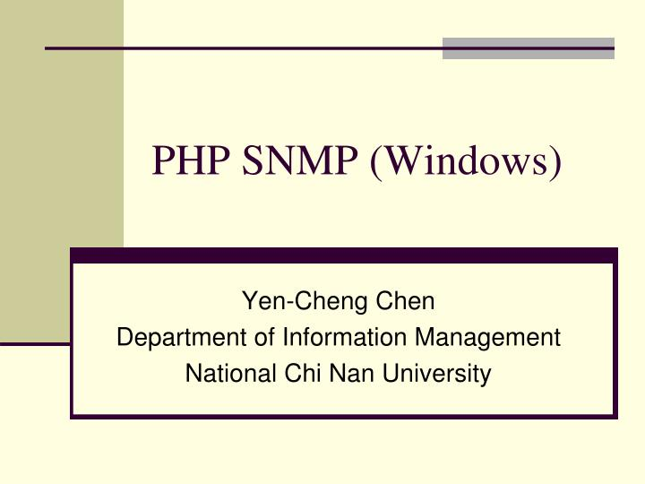 PHP SNMP (Windows)