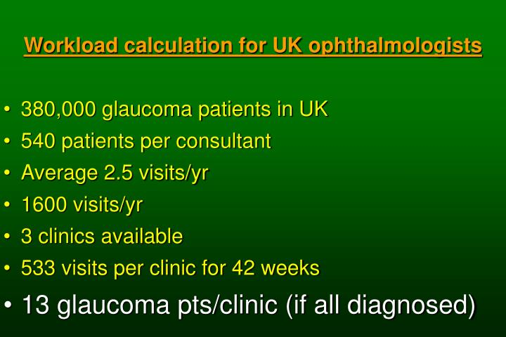 Workload calculation for UK ophthalmologists