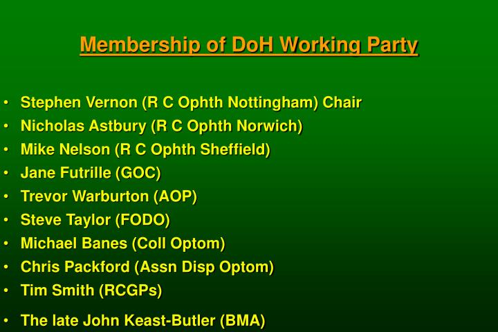 Membership of DoH Working Party