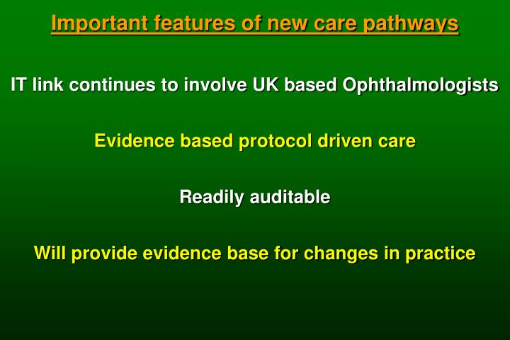 Important features of new care pathways