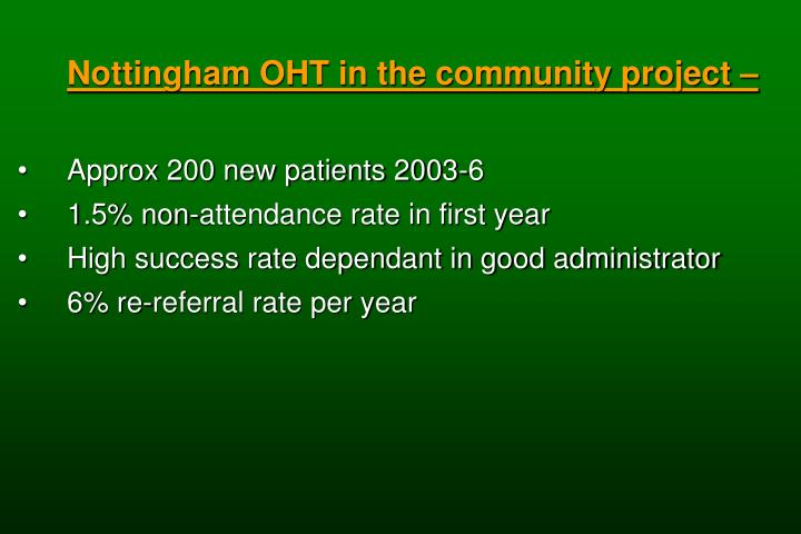 Nottingham OHT in the community project –