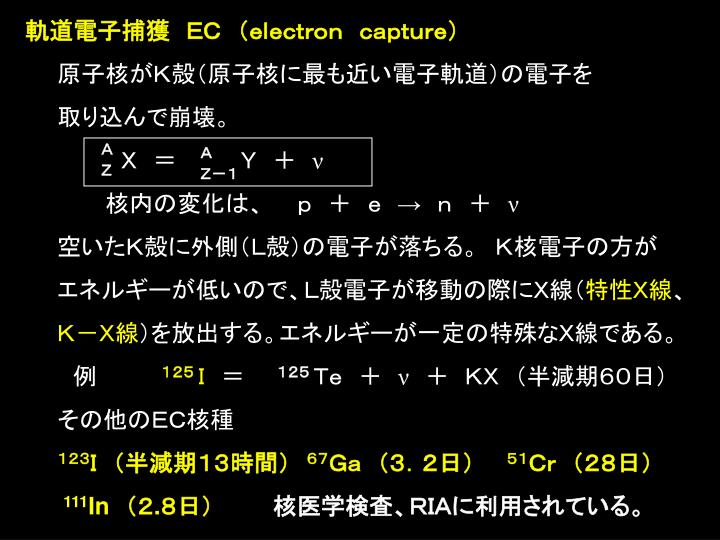 軌道電子捕獲 EC (electron capture)