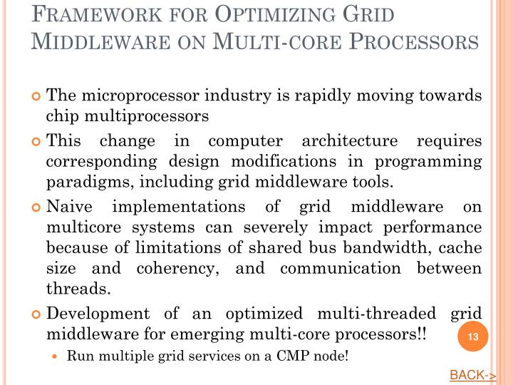 Framework for Optimizing Grid Middleware on Multi-core Processors