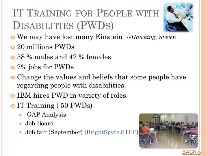 IT Training for People with Disabilities (PWDs)