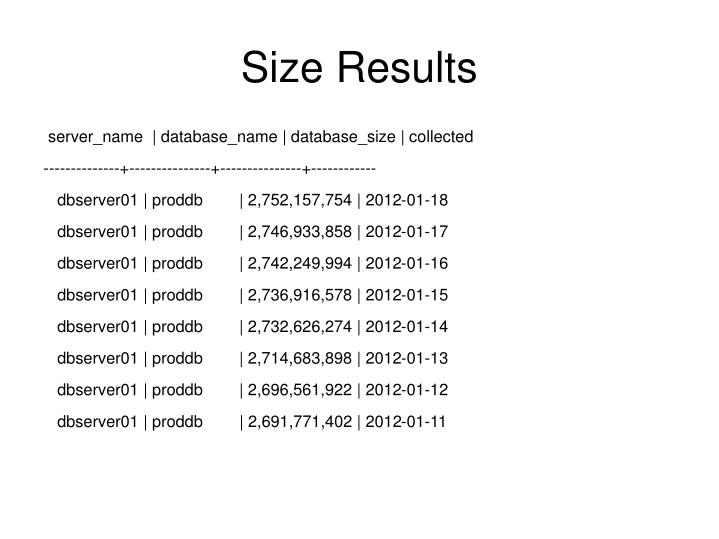 Size Results