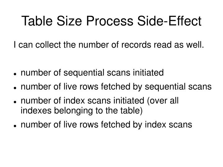 Table Size Process Side-Effect