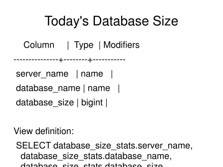 Today's Database Size