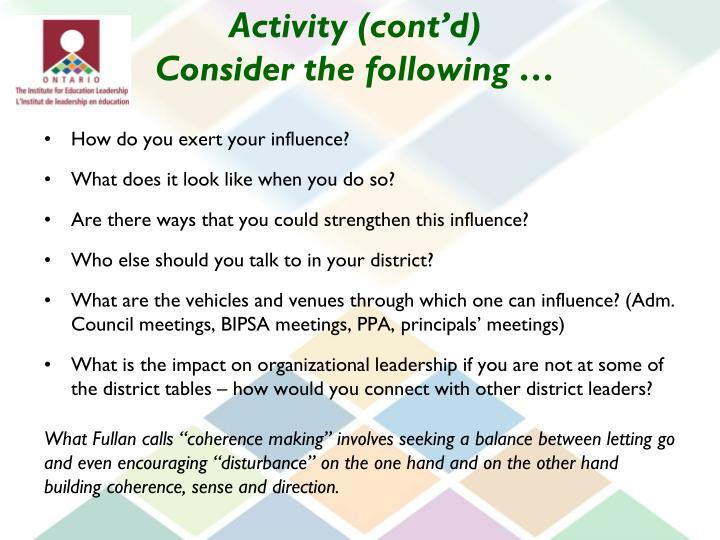 Activity (cont'd)