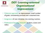 def learning oriented organizational improvement