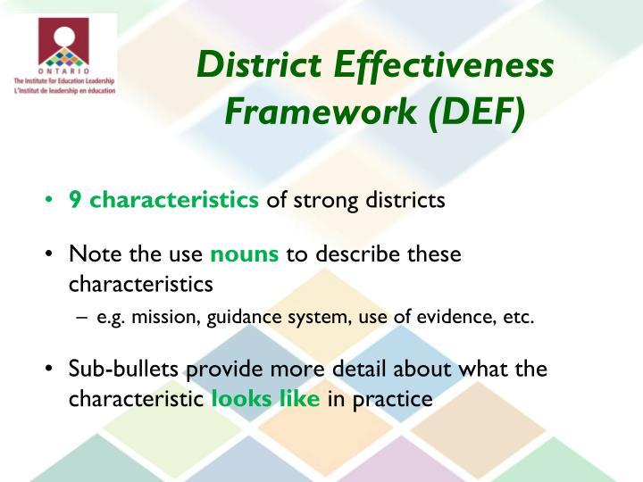 District Effectiveness Framework (DEF)