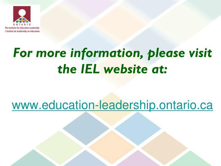 For more information, please visit the IEL website at: