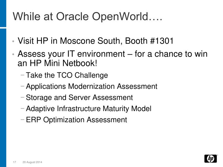 While at Oracle OpenWorld….