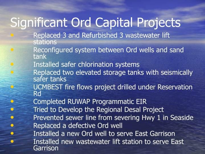 Significant Ord Capital Projects
