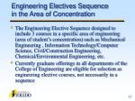 engineering electives sequence in the area of concentration