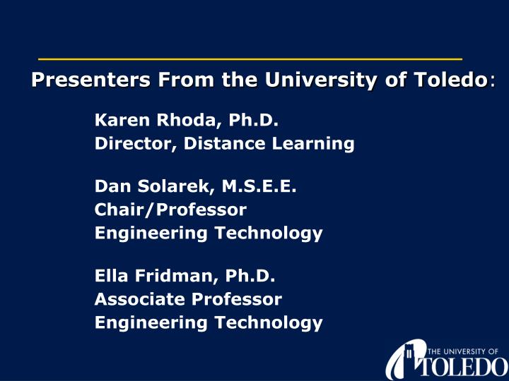 Presenters From the University of Toledo