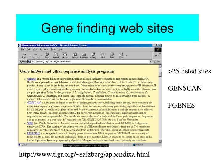 Gene finding web sites