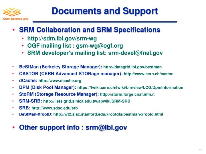 Documents and Support