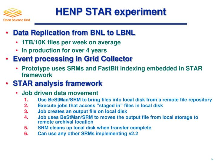 HENP STAR experiment