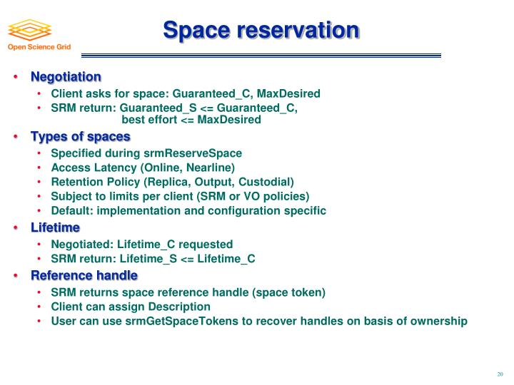 Space reservation