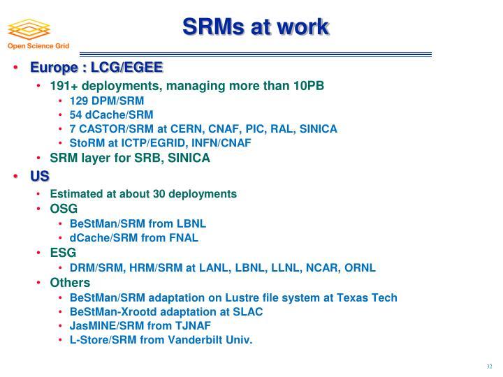 SRMs at work
