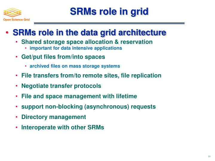 SRMs role in grid