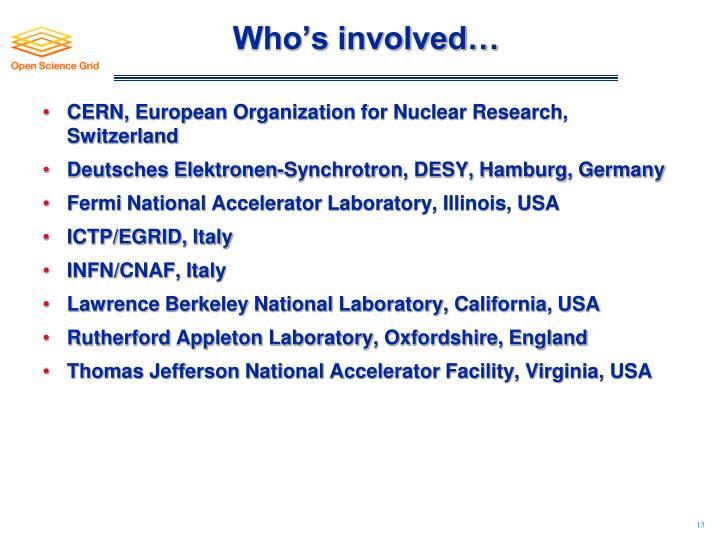 Who's involved…