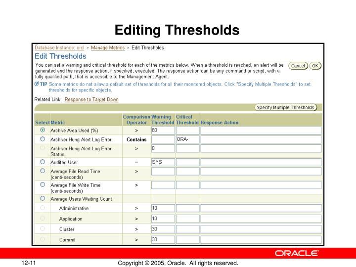 Editing Thresholds
