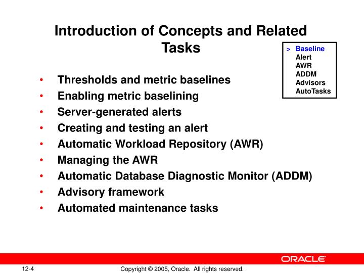 Introduction of Concepts and Related Tasks