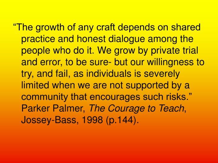 """The growth of any craft depends on shared practice and honest dialogue among the people who do it..."